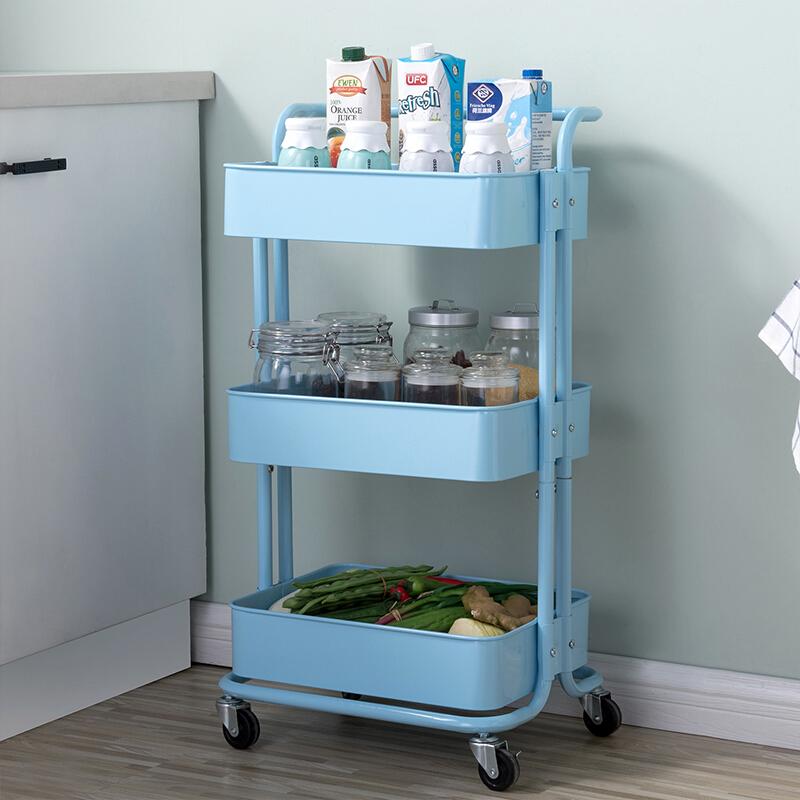 厨房置物架 可移动调味架碗碟架 厨房用品零食收纳架 沥水篮水果篮蔬菜蓝 中餐厅抖音同款推车 4135