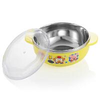 宝露露儿童餐具不锈钢隔热宝宝吃饭碗保温双层带盖婴儿卡通