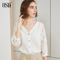【过年3折价:118.3】OSA欧莎白色蕾丝雪纺衬衫2019新款夏宽松V领上衣女时尚洋气小衫