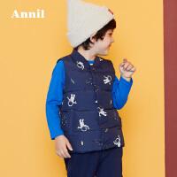 安奈儿童装男童小童立领羽绒马甲2019冬装新款宝宝马甲外套