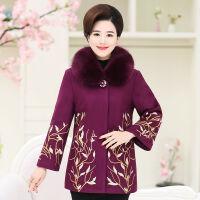 妈妈装秋冬装毛呢外套中老年女装呢子大衣加棉加厚50岁60上衣 【加棉带毛领】紫色 176