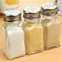 厨房用品玻璃调味瓶烧烤调料盒密封盐糖罐胡椒粉瓶5支 图片色