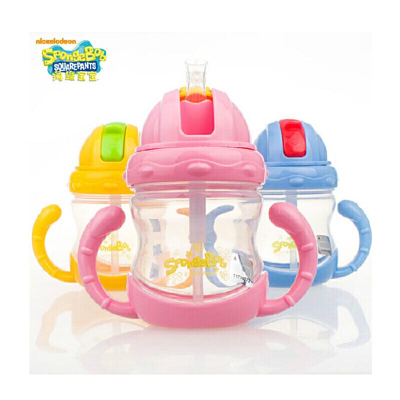 海绵宝宝鸭嘴杯婴儿水杯儿童吸管杯带手柄学饮杯防漏喝奶嘴水杯子容量: 240mL 一杯三用 食用级材质