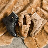玛菲玛图冬季女靴加厚皮毛一体雪地靴女欧美马丁靴保暖防滑棉鞋1816-29YML