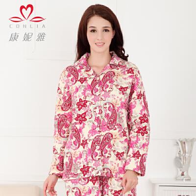 康妮雅新品家居服 女 清新甜美印花夹棉加厚睡衣套装先领卷后购物 满399减50
