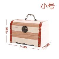 木箱子带锁的 带锁收纳盒超大号木质储物小箱子迷你保险箱创意儿童存钱罐零钱箱