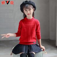 儿童毛衣加绒加厚套头女孩针织毛衣上衣保暖打底衫潮
