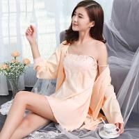 性感睡衣女夏两件套冰丝吊带长袖睡裙春长款甜美公主睡衣套装秋冬 珍珠白 160(M)