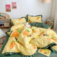珊瑚绒棉四件套全棉秋冬季水晶法兰绒加厚床上三件套被套笠床单