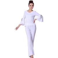 广场舞服装拉丁舞套装瑜珈服女舞蹈服中袖喇叭袖大码莫代尔新款