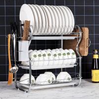 碗架沥水架家用洗放碗碟盘子收纳架厨房置物架不锈钢色控水放碗架