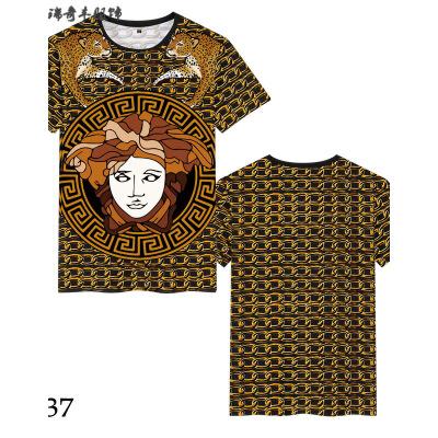 欧美风潮牌美杜莎印花夏季短袖T恤男装加大加肥社会小伙个性衣服