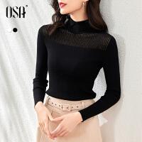 OSA软糯黑色半高领针织衫春季新款女2021年显瘦打底上衣内搭毛衣