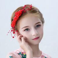 儿童发饰红色发梳头花礼服配饰头饰发卡发夹女孩饰品