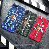 鲨鱼手机壳苹果6s日本bape个性迷彩x超薄6磨砂7硬壳8plus 苹果6/6s 拉链绿鲨