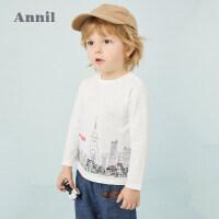 【活动价:78.1】安奈儿童装男小童长袖T恤2020春季新款纯棉上衣