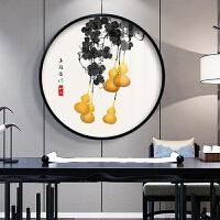 新中式五福临门客厅沙发背景墙挂画玄关装饰画茶室餐厅圆形墙壁画 五福临门 70*70厘米 原木色实木圆形框+有机玻璃 高