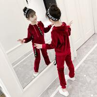 女童秋冬装加绒套装2018新款儿童中大童韩版金丝绒时髦加厚两件套
