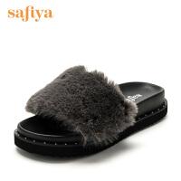 Safiya/索菲娅 时尚百搭舒适夏季仿兔毛/织物女凉拖鞋SF72116041