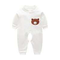 婴儿连体衣服夏季新生儿哈睡衣初生宝宝空调服薄款长袖春秋装