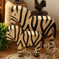 欧式创意木斑马小摆件客厅卧室房间家具摆设美式家居软装饰品摆饰 斑马一套