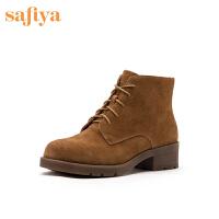 Safiya/索菲娅靴子2019冬季新款圆头系带方跟马丁靴女SF94118210