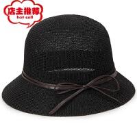 韩版时尚针织礼帽 纯色圆顶遮阳凉帽防晒太阳帽盆帽妈妈帽子女帽 均码58cm