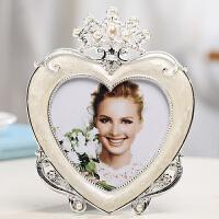 爱心形相框欧式轻奢相框摆台个性创意心形爱心5寸情侣相片相架定制冲印照片 5x5寸