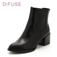 【领券减100】D:Fuse/迪芙斯秋冬牛皮尖头粗跟切尔西短靴女鞋DF74116182