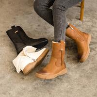 玛菲玛图秋冬女靴英伦风皮毛一体保暖雪地靴平底马丁靴女009-115YML