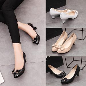 女式 新款蝴蝶结圆头PU漆皮镜面浅口中低跟单鞋女