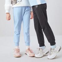 【3件3折】安奈儿童装男童全腰针织单裤子2020新款女童休闲裤春秋装束脚长裤2