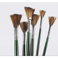 莫奈尼龙毛鱼尾扇形笔油画笔 扇形刷 水彩 油画颜料刷 656 单支