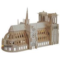 益智木质成人拼图玩具 木制建筑模型房子立体拼图wanju巴黎圣母院