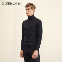 BOSSsunwen高领男士羊毛衫2018秋季新品套头修身针织衫打底衫毛衣