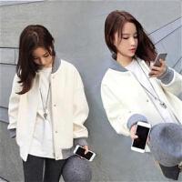 韩版bf棒球服女装宽松夹克短外套秋冬装加厚外套女学生百搭风衣 米白色