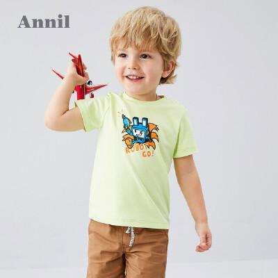 【159元3件】安奈儿童装男小童短袖T恤圆领2020夏季新款萌趣宝宝洋气上衣纯棉