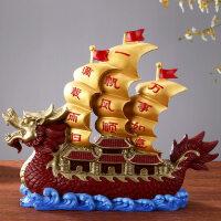 一帆风顺帆船摆件 客厅办公室装饰品 纯铜龙船店铺开业礼品 一帆风顺龙船(一个)
