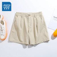 [满99减10元/满199减30元]真维斯女装 2019夏装新款  休闲净色纯棉时尚短裤
