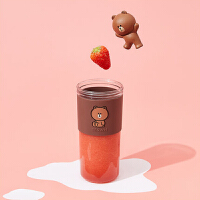 九�(Joyoung) LINE�名布朗熊榨汁�C家用水果小型便�y式��佣喙δ苊阅愎�汁杯榨汁杯 L3-C86XL(BROW