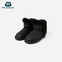【4折价:108】迷你巴拉巴拉童鞋女宝宝休闲鞋2019冬新款防滑鞋子加绒保暖雪地靴