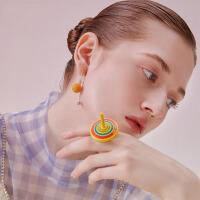 女士气质糖果彩色耳钉个性耳坠耳饰2019夏季新款黄色耳环