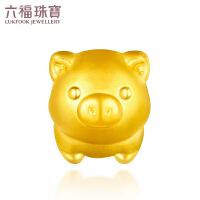 六福珠宝可爱小猪生肖猪黄金串珠路路通手绳定价L01A1TBP0045