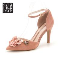 SATURDAYMODE/星期六旗下花朵细跟中后空女单鞋MD82114008