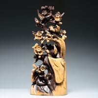 喜上眉梢根雕梅花雕刻摆件家居装饰工艺品
