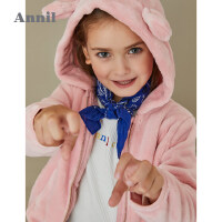 【3件3折折后价:110.7】安奈儿童装女童外套冬季新款女宝宝儿童保暖简约连帽毛绒外套