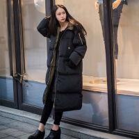 冬季棉衣女中长款2019韩版棉袄bf宽松加厚过膝学生面包服 黑色