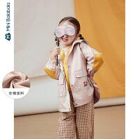 【2件4折】迷你巴拉巴拉女童外套2020春装风衣潮儿童时髦洋气中长款童装