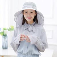 大沿遮阳帽女士夏天出游户外骑车遮脸太阳帽女 蕾丝灰色 (单帽子带面罩)
