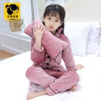 儿童睡衣夹棉厚款宝宝套装女童法兰绒冬装家居服中大童珊瑚绒潮